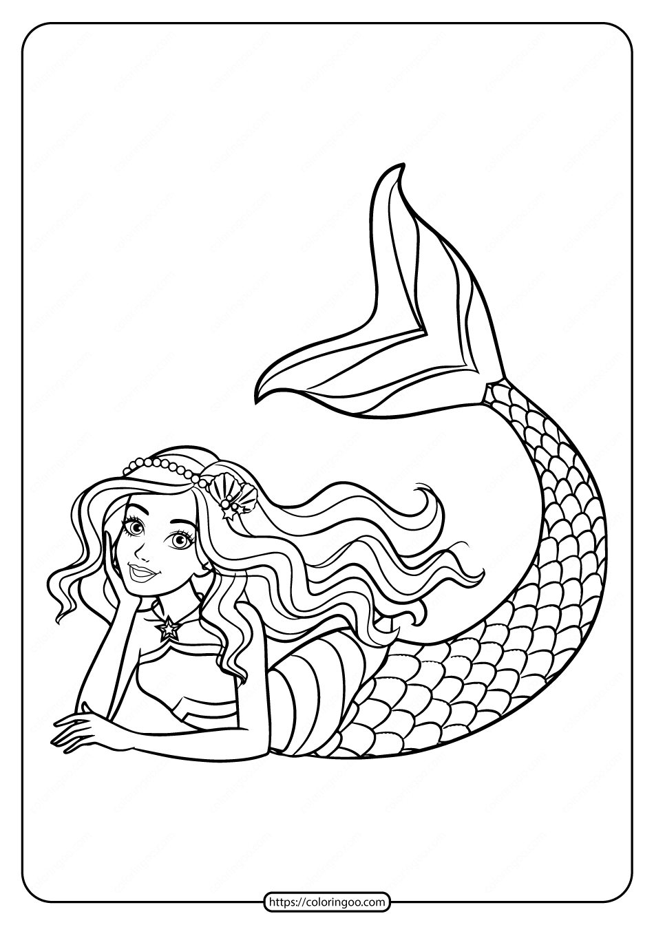 Cute Barbie Mermaid Coloring Page For Girls