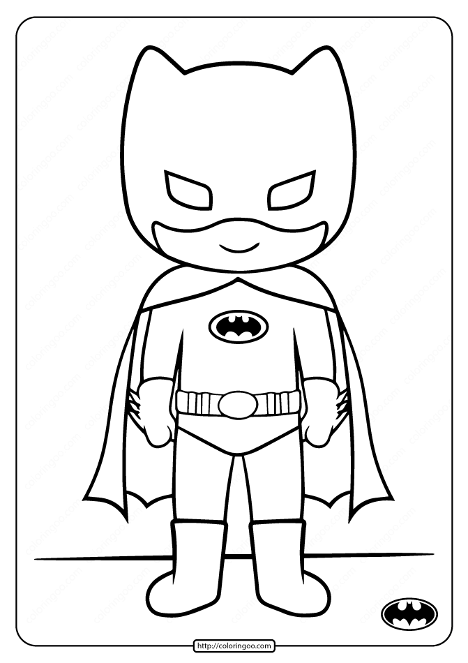 Printable Cute Batman Coloring Pages for Kids