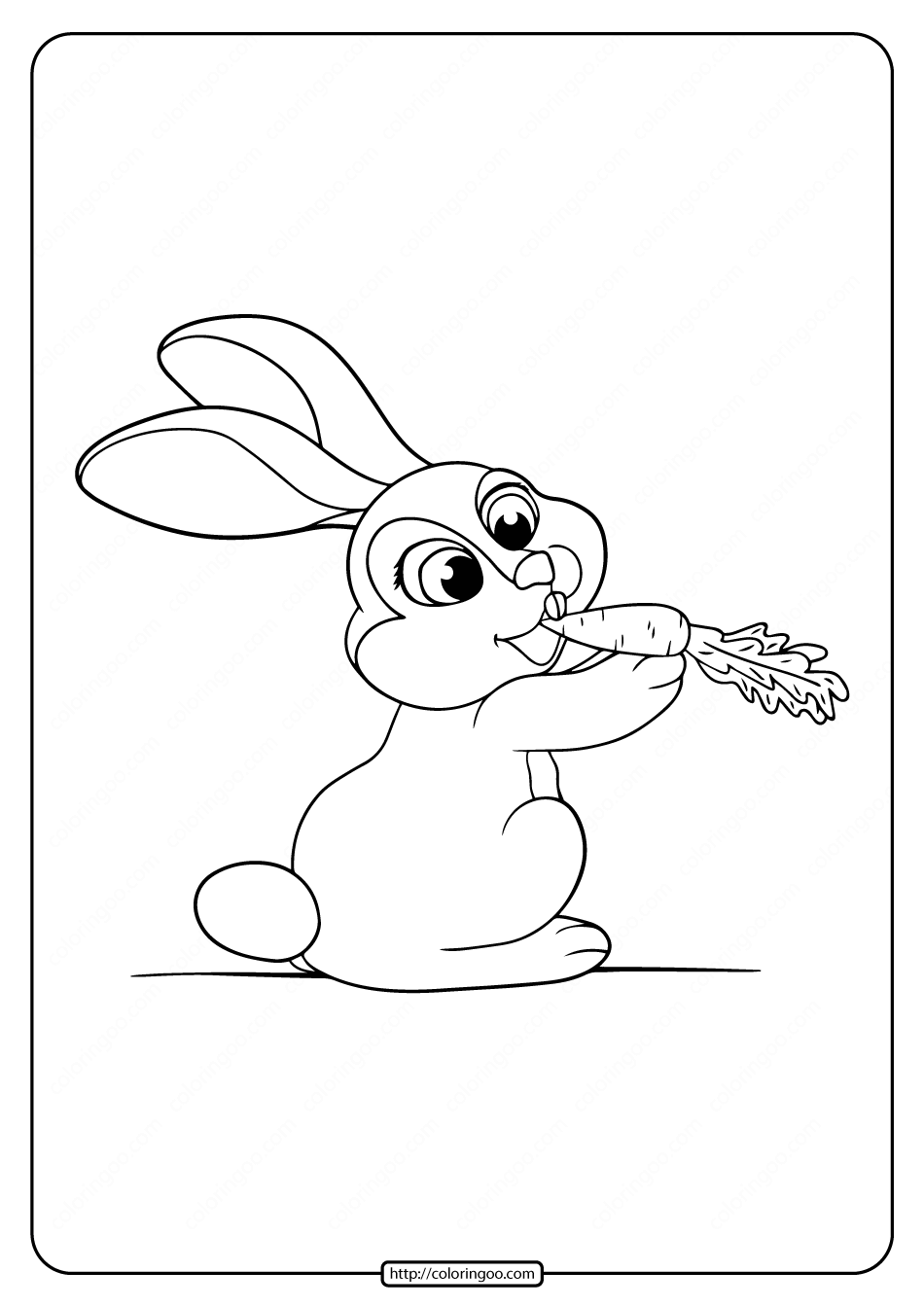 Printable Cute Rabbit Eat Carrot Coloring Page