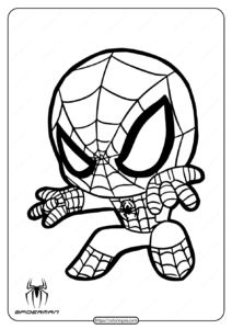 Printable Cute Spiderman Coloring Page for Kids