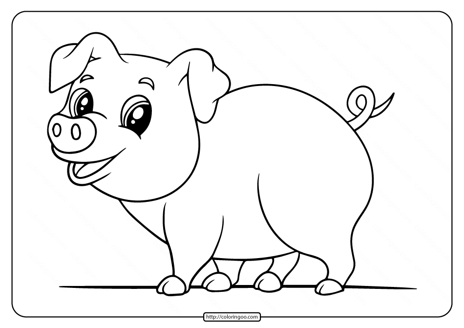 Printable Easy Pig Coloring Pages For Kids