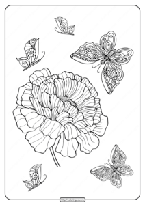 Printable Flower and Butterflies Coloring Page