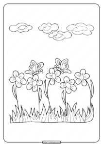 Printable Flower with Butterfly Coloring Pages