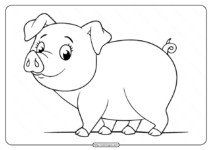 Printable Funny Fat Pig Coloring Pages