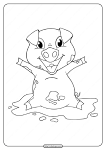 Printable Happy Pig Playing Coloring Pages