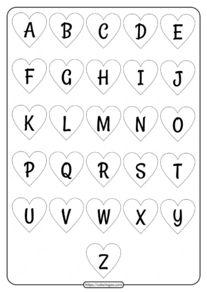 Printable Heart Shaped Alphabet Uppercase Letters