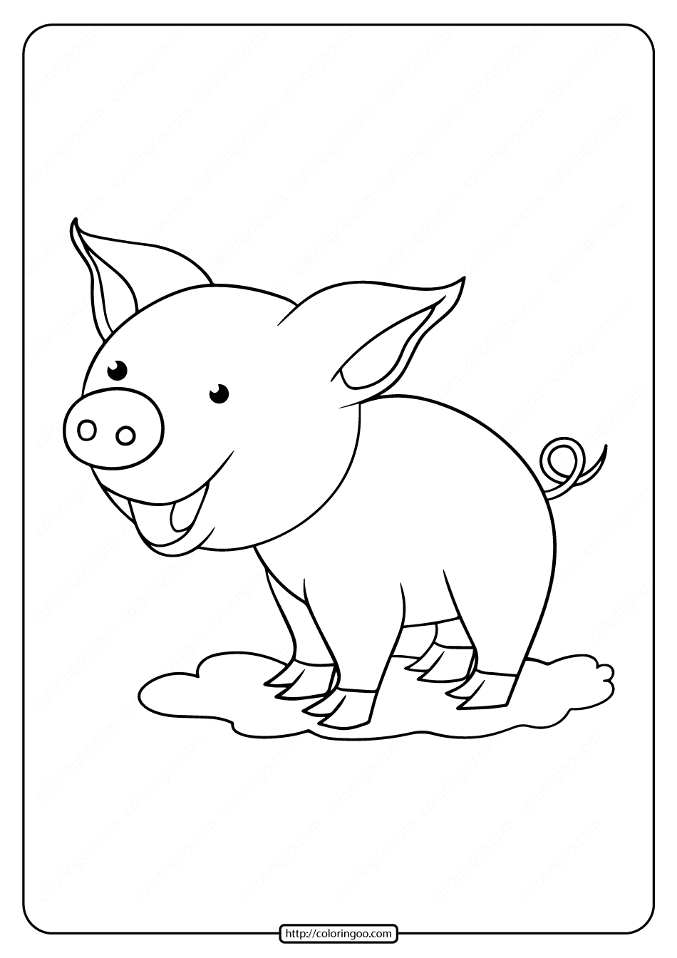 Printable Laughing Pig Coloring Page for Kids