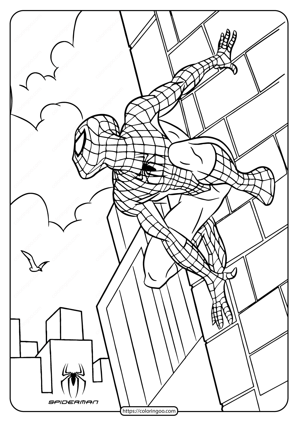 Printable Marvel Spiderman Pdf Coloring Page