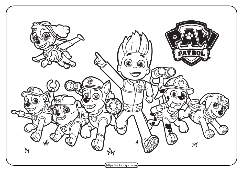 Printable Paw Patrol Friends Pdf Coloring Pages