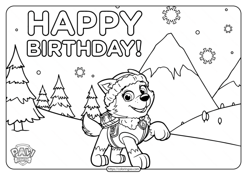 Printable Paw Patrol Happy Birthday Coloring Pages