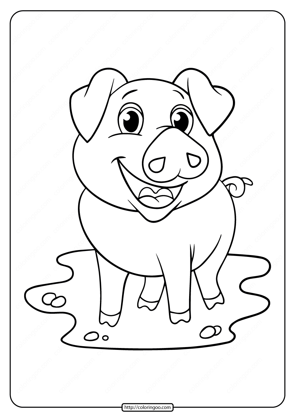 Printable Pig Coloring Pages Free for Kids