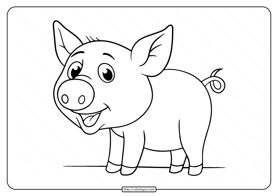 Printable Pig Pdf Coloring Pages for Kids