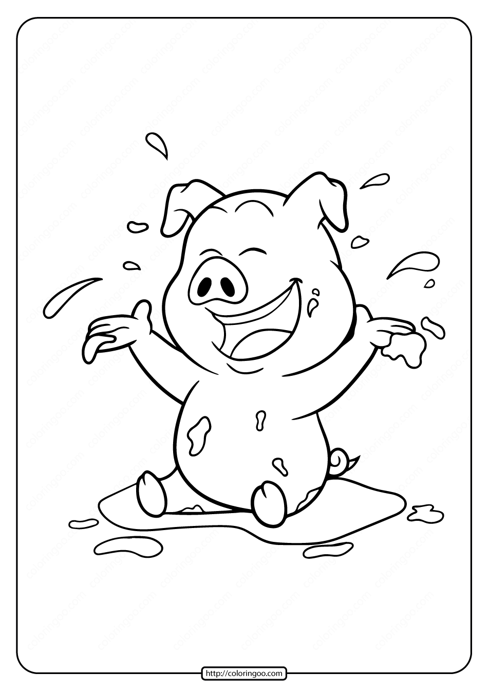 Printable Pig Play on Ground Loam Coloring Page