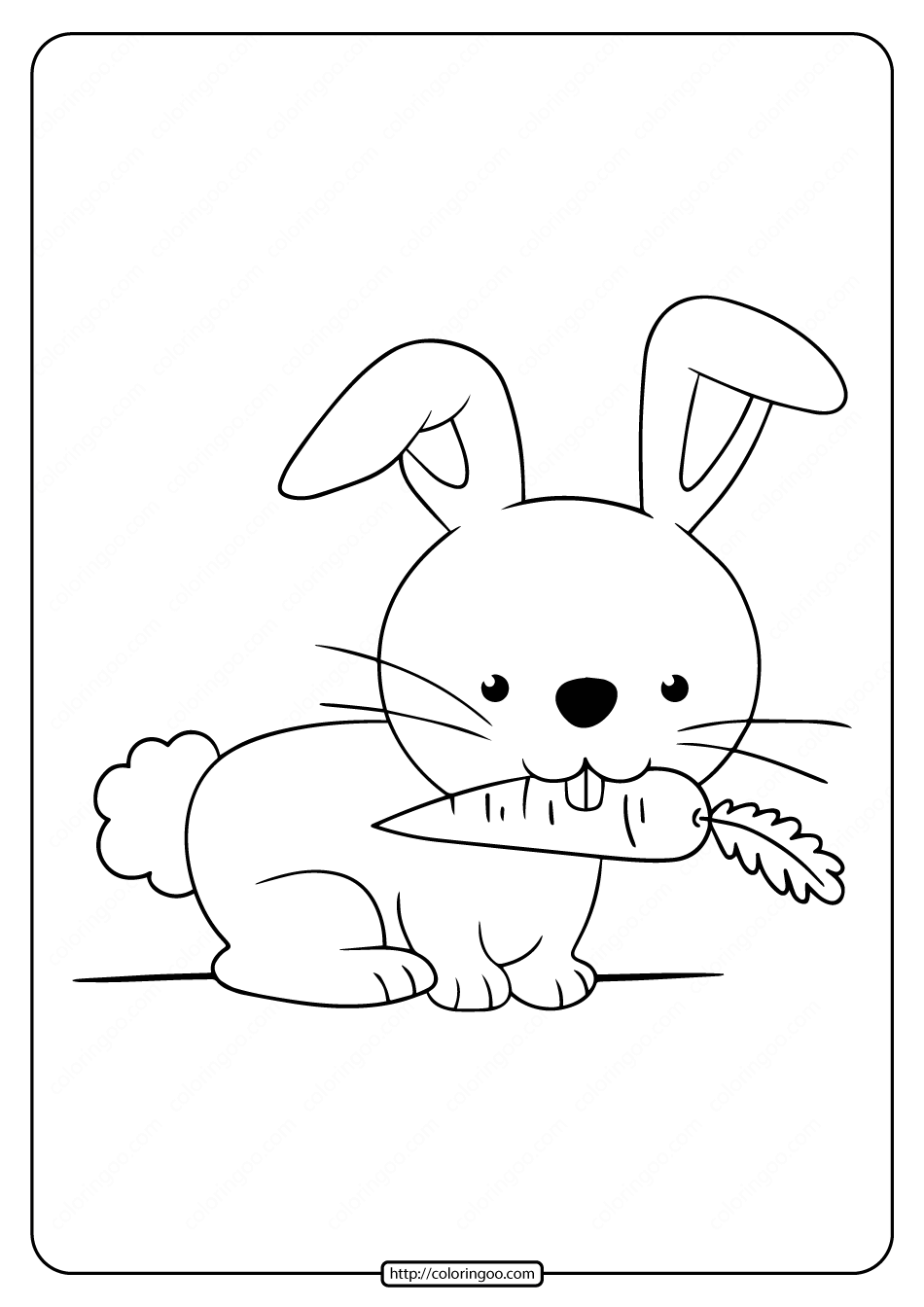 Printable Rabbit Eat Carrot Coloring Pages