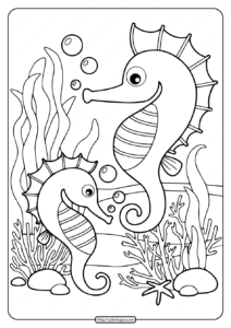 Printable Sea Horses Coloring Pages