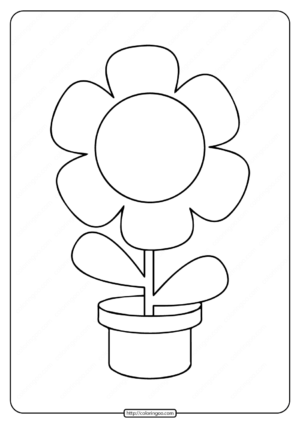 Printable Simple Flower in a Pot Coloring Page