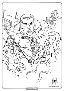 Printable Spiderman and Sandman Coloring Page