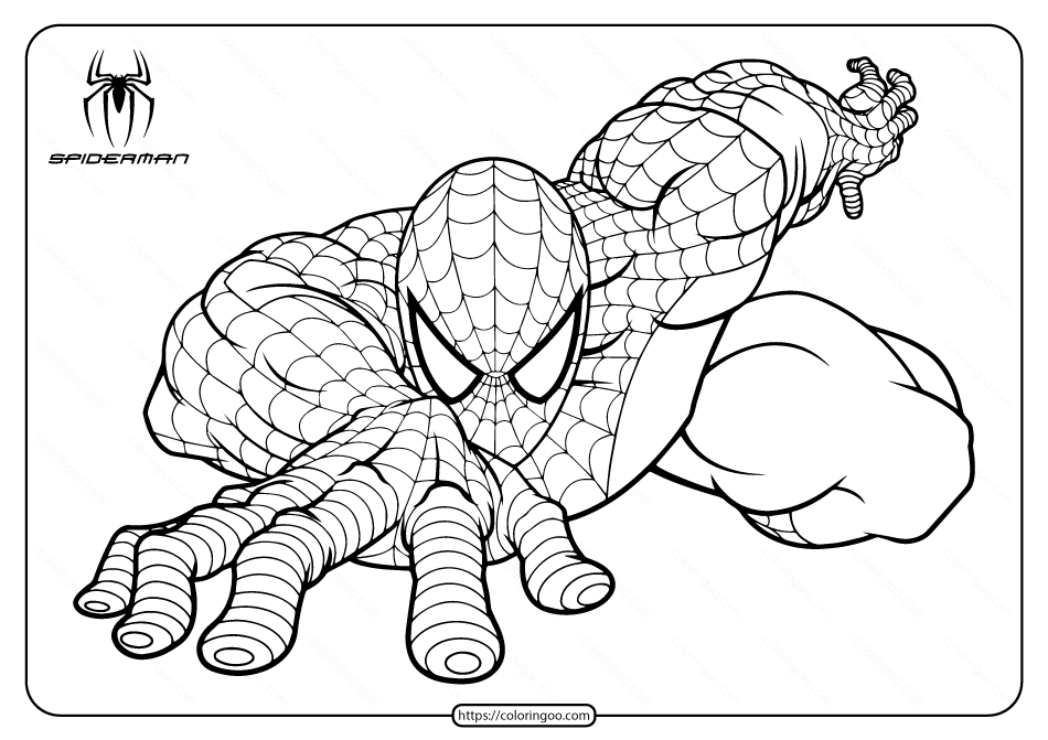 Spiderman Climb the Building Coloring Page