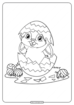 Rabbit Playing Easter Egg Coloring Pages