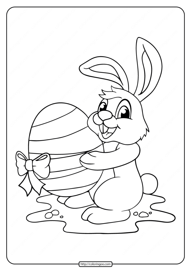 Rabbit with Big Easter Egg Coloring Page