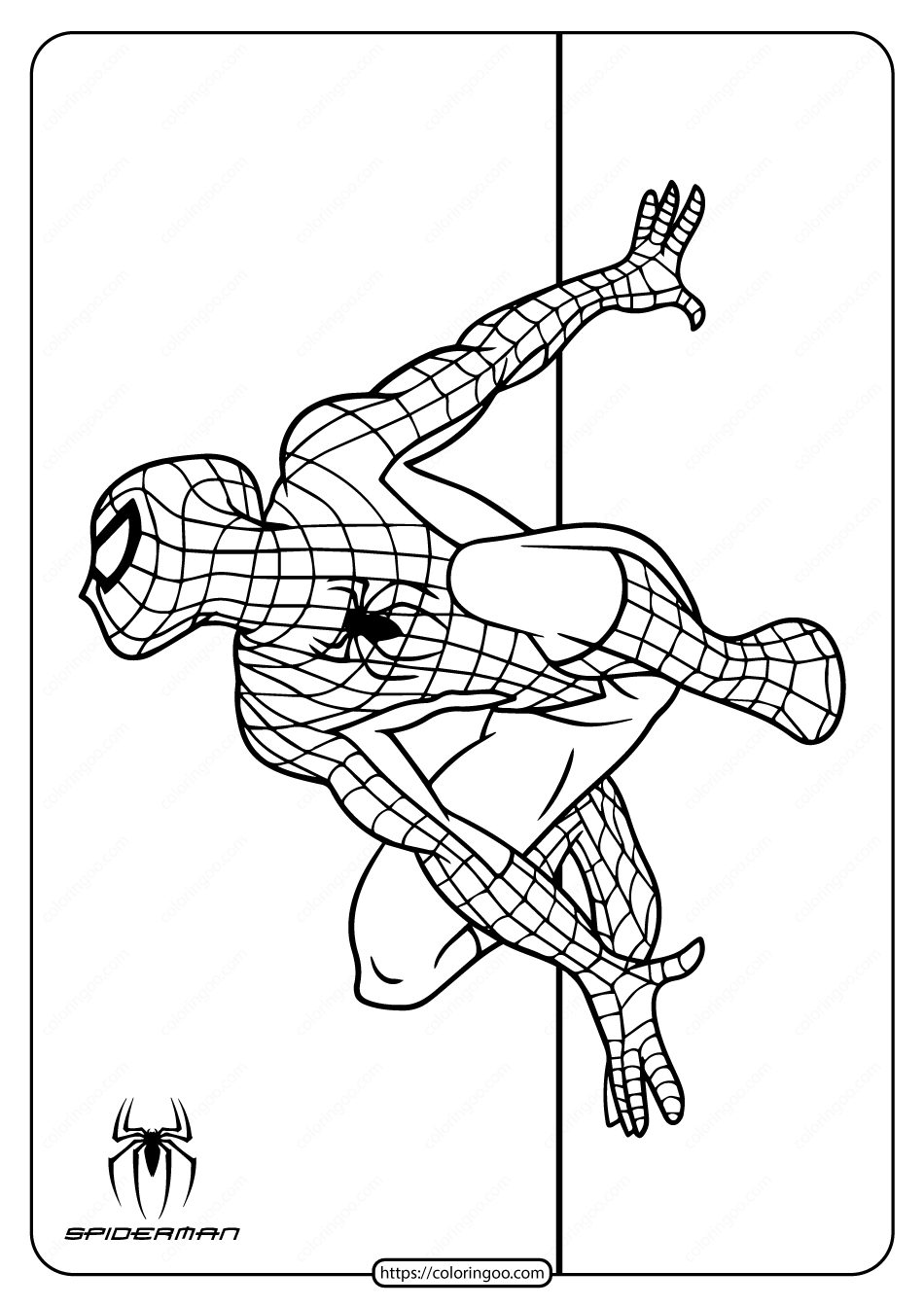 Spiderman Climbing Wall Coloring Page