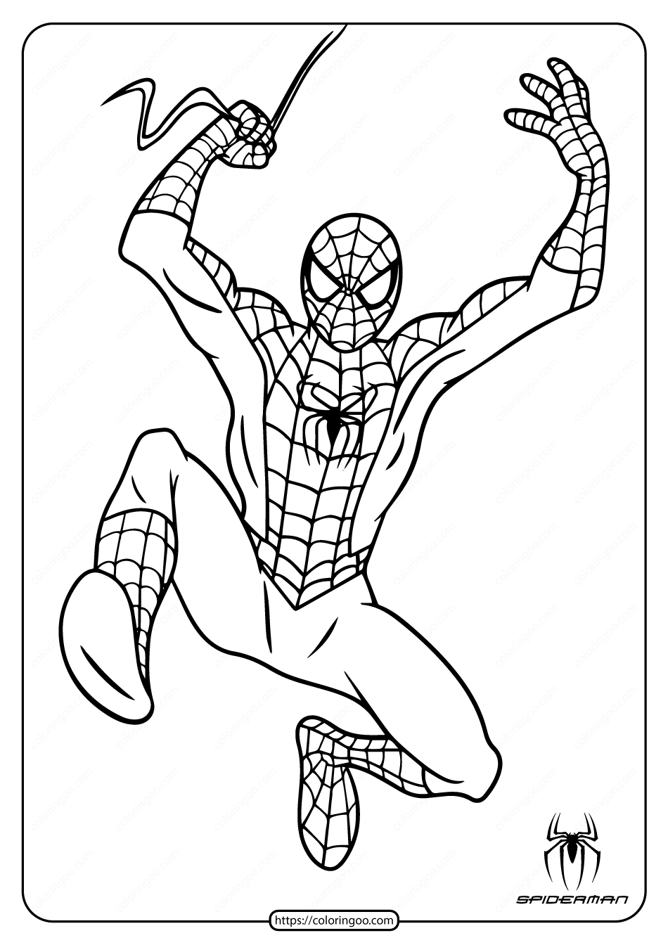 Spiderman Coloring Pages Hanging From Web