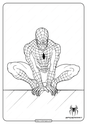 Spiderman In The Wall Of Edge Coloring Page
