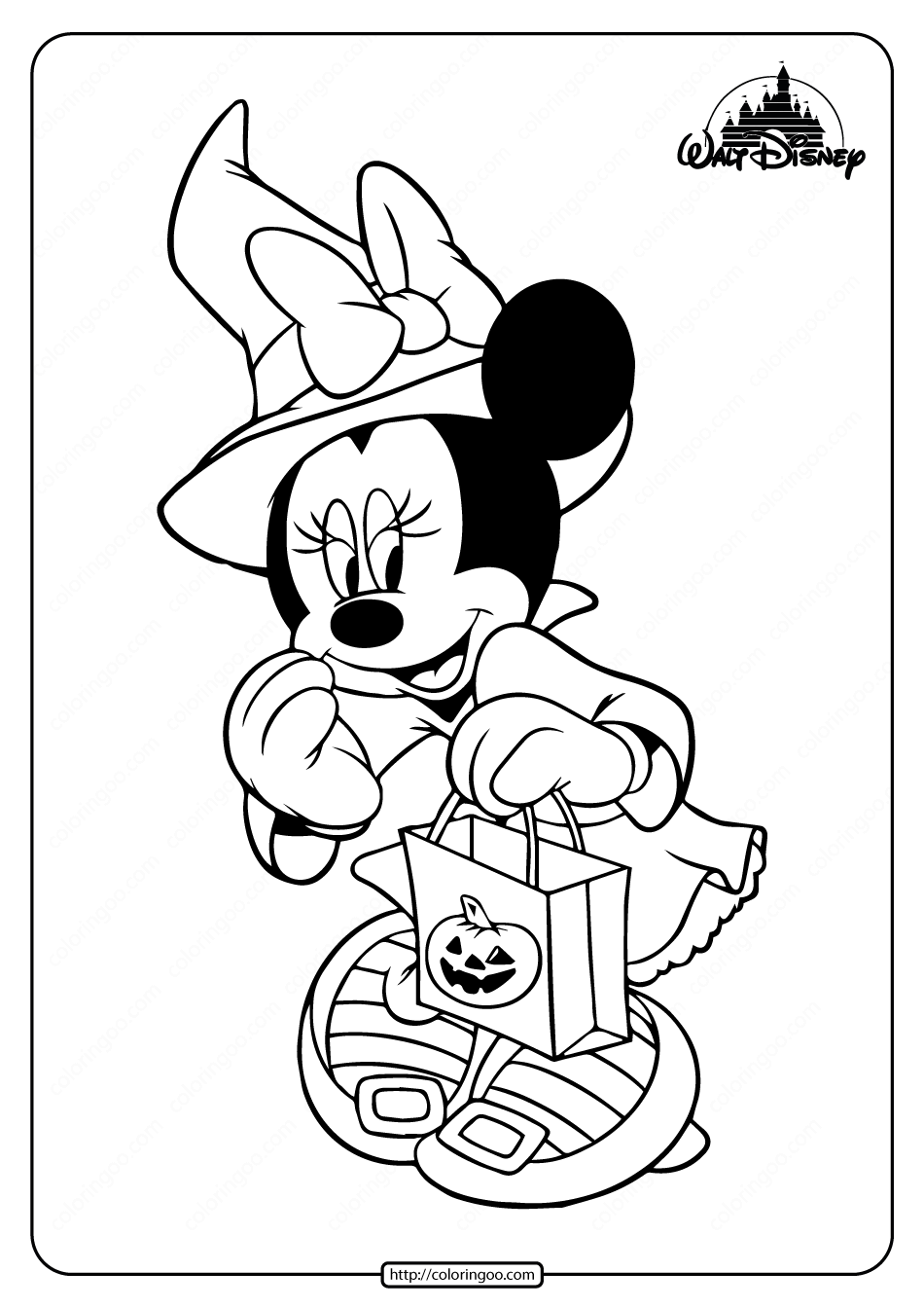 Cute Minnie Mouse Halloween Coloring Pages