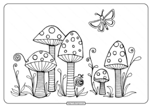 Cute Mushrooms Pdf Coloring Pages