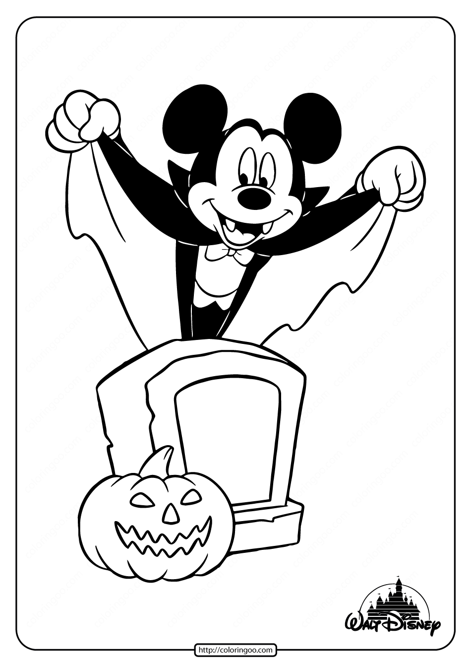 Disney Mickey Mouse Halloween Coloring Pages