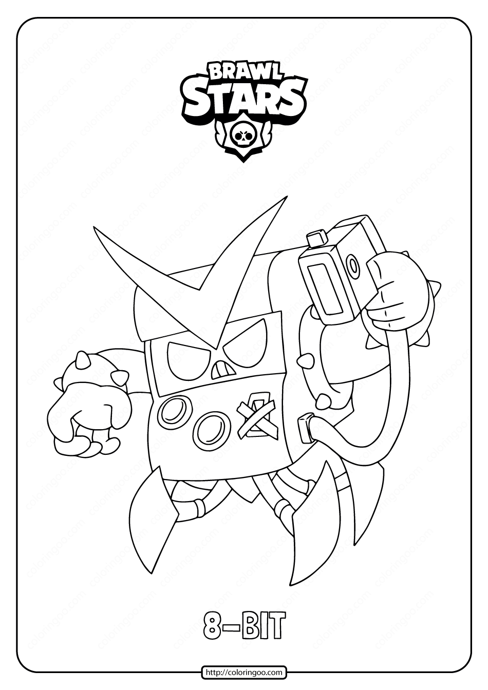 Free Printable Brawl Stars 8-BIT Coloring Pages