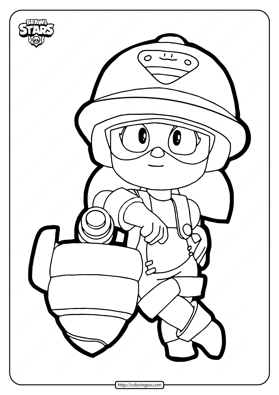 Free Printable Brawl Stars Jacky Coloring Pages