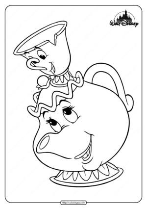 Free Printable Mrs Potts and Chip Coloring Pages
