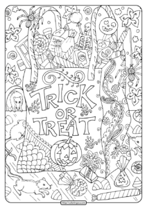 Free Printable Trick or Treat Coloring Pages
