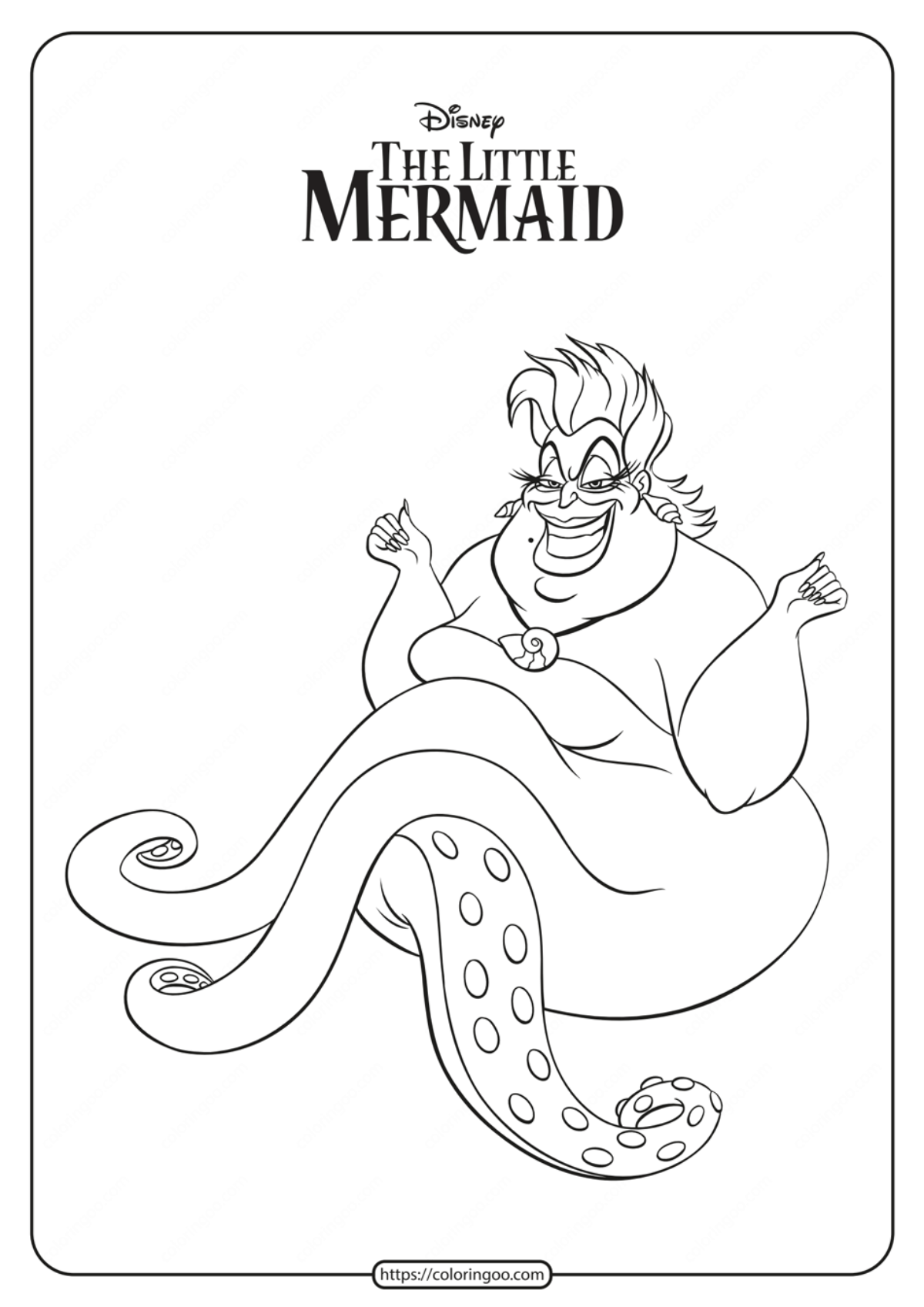 Free Printable Ursula Coloring Pages