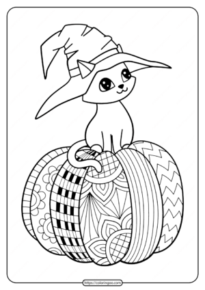 Halloween Witch Hat Cat On Pumpkin Coloring Pages