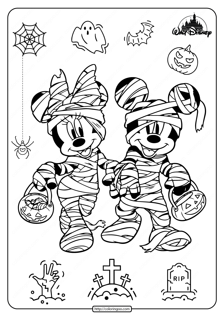 Happy Halloween Disney Coloring Pages