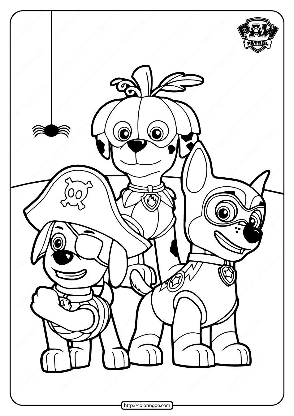 Happy Halloween Paw Patrol Coloring Pages