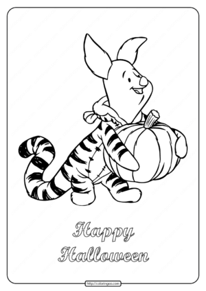 Happy Halloween Piglet Coloring Pages