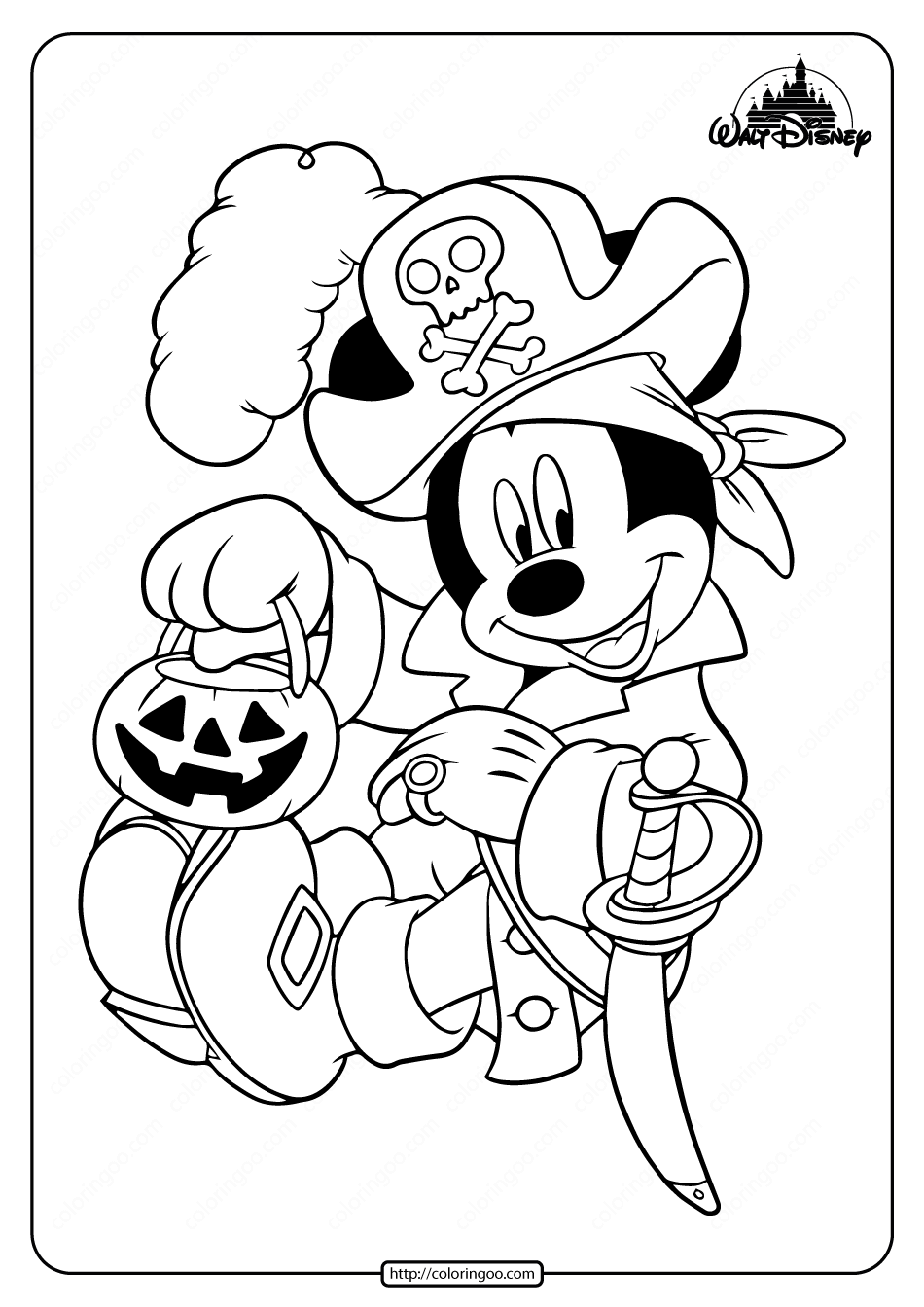 Pirate Mickey Mouse Coloring Pages