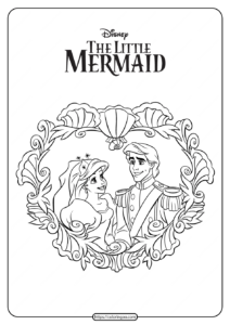 Prince Eric and Ariel Wedding Coloring Pages
