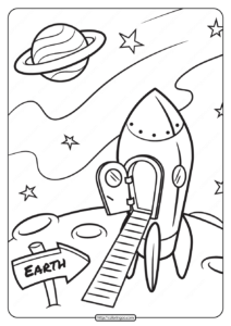 A Rocket on the Moon Surface Coloring Pages