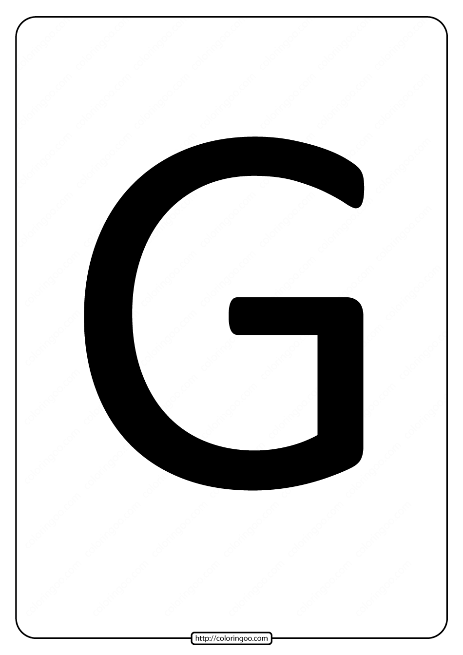 Printable A4 Size Uppercase Letters G Worksheet