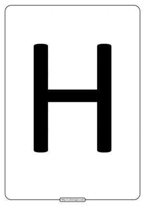 Printable A4 Size Uppercase Letters H Worksheet