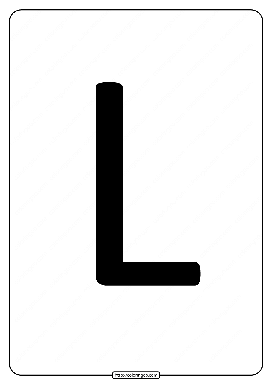 Printable A4 Size Uppercase Letters L Worksheet