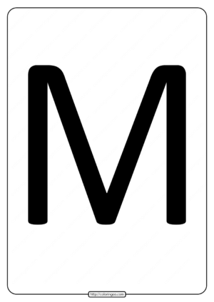 Printable A4 Size Uppercase Letters M Worksheet