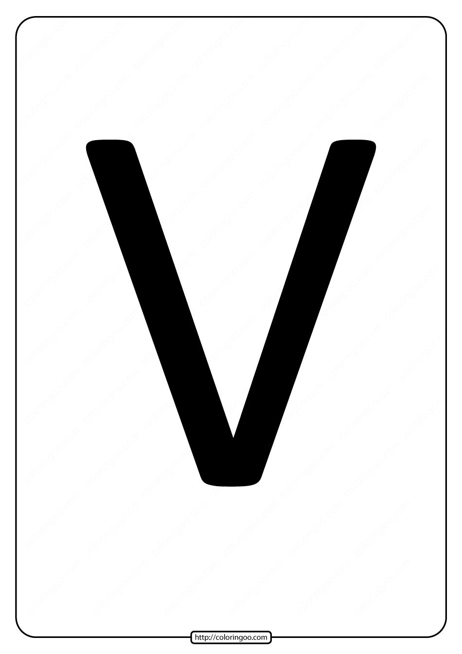 Printable A4 Size Uppercase Letters V Worksheet