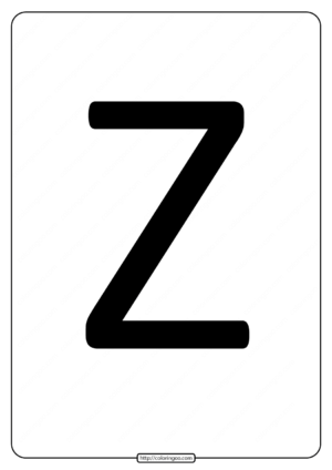Printable A4 Size Uppercase Letters Z Worksheet
