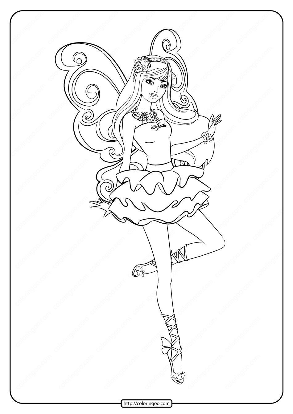 Printable Barbie Fairy Secret Coloring Pages 01