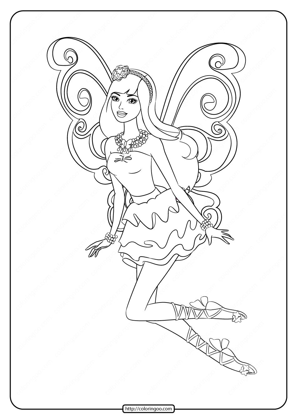 Printable Barbie Fairy Secret Coloring Pages 03